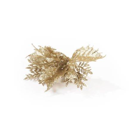 Brokatowa złota przypinka
