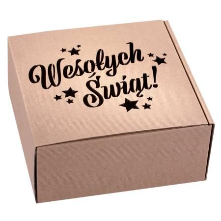 Pudełko prezentowe EKO Kraft 6 22x22x10 cm - WESOŁYCH ŚWIĄT
