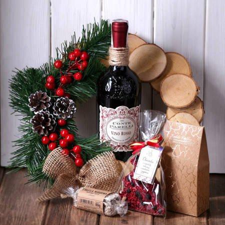 Zestaw prezentowy - Wianek drewniany z truflą i winem