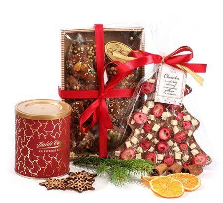 Zestaw prezentowy - czekoladowa choinka z pierniczkami i kawą